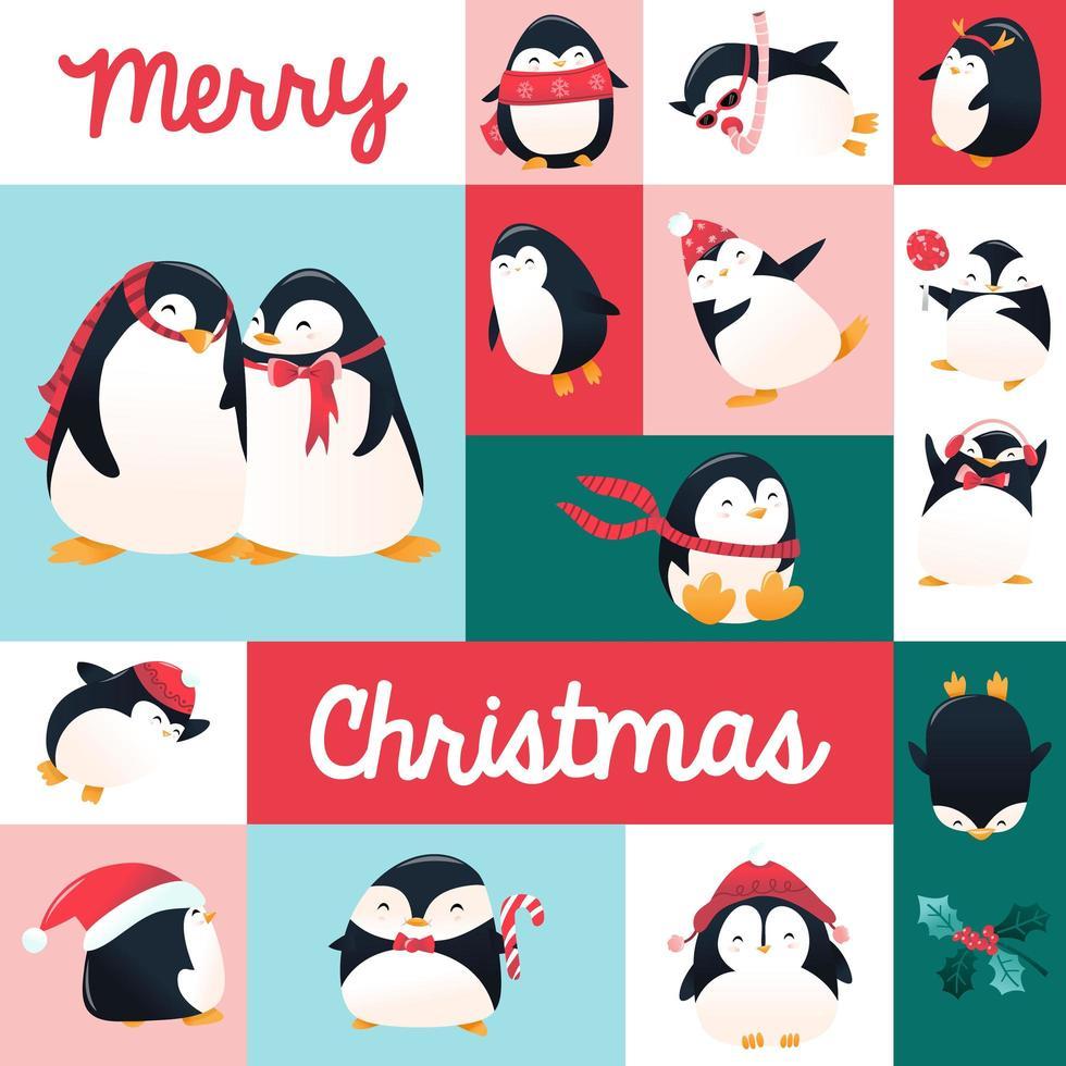 super söt tecknad semester pingviner mosaik dekoration vektor