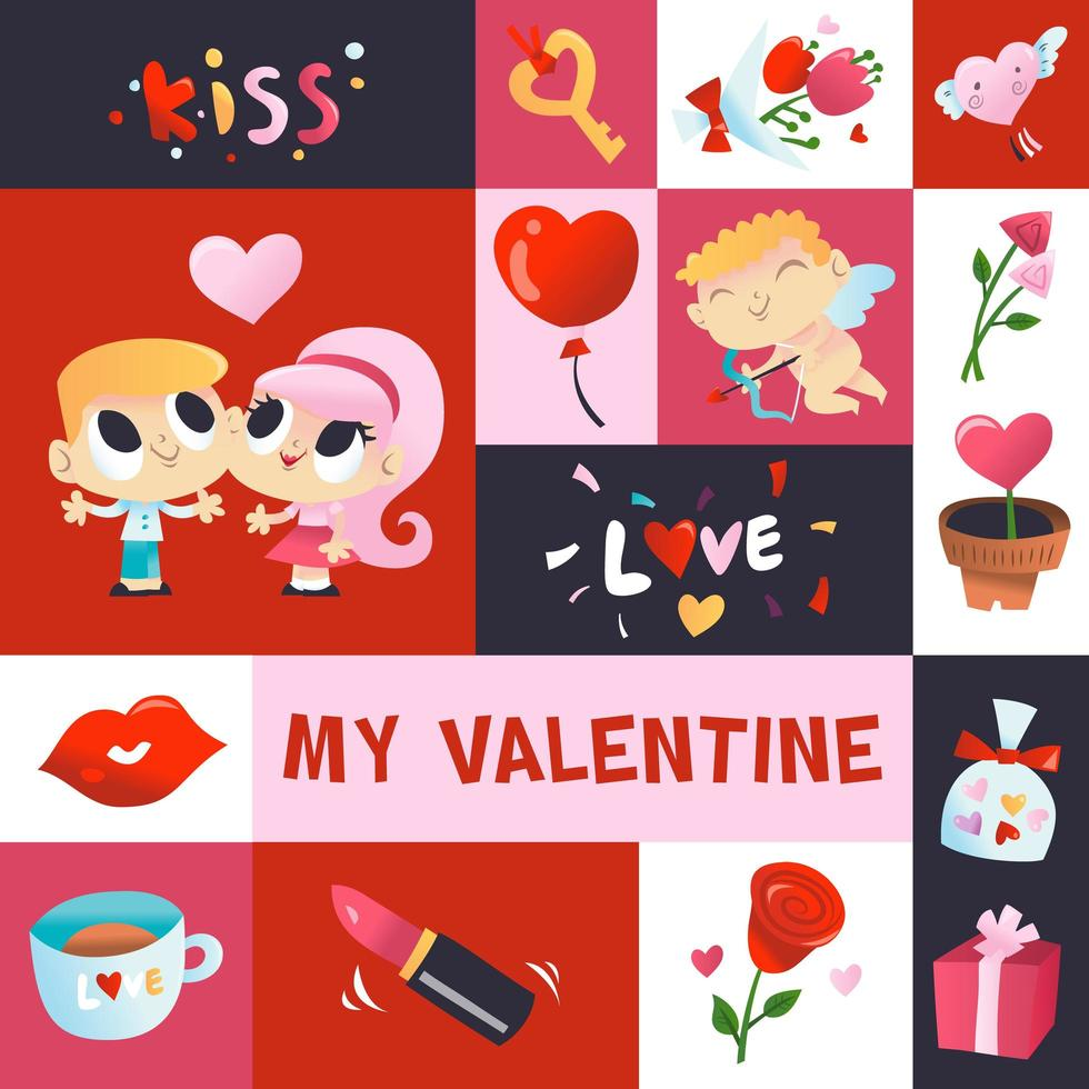 super süße Valentinstag Mosaik Dekoration vektor