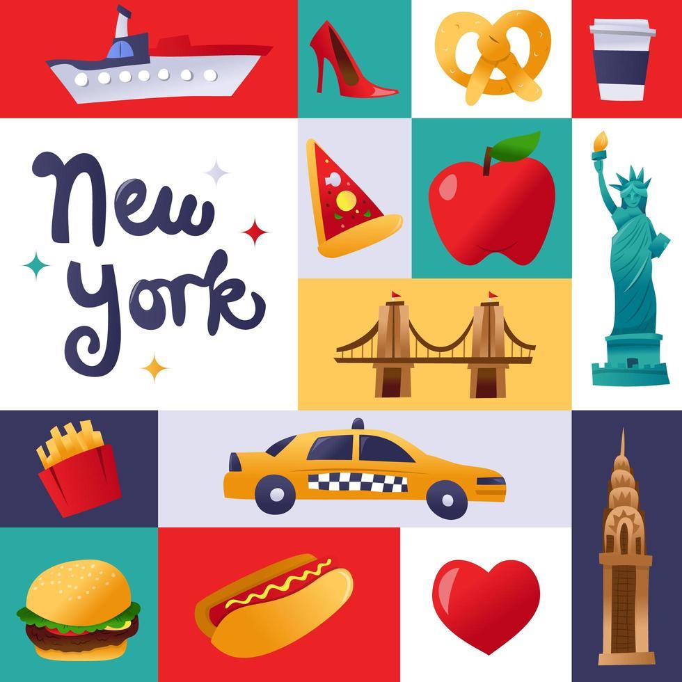 super söt New York kultur mosaik dekoration vektor