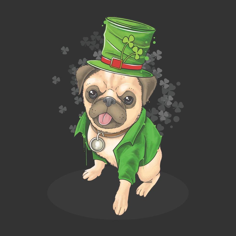 st. Patrick's Day bär mops en söt hatt och kostym. detta konstverk använder en akvarellstil med redigerbara lagervektor vektor
