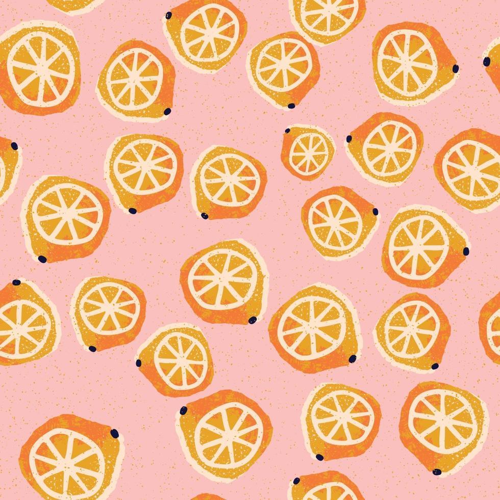 handritade citroner sömlösa mönster vektor