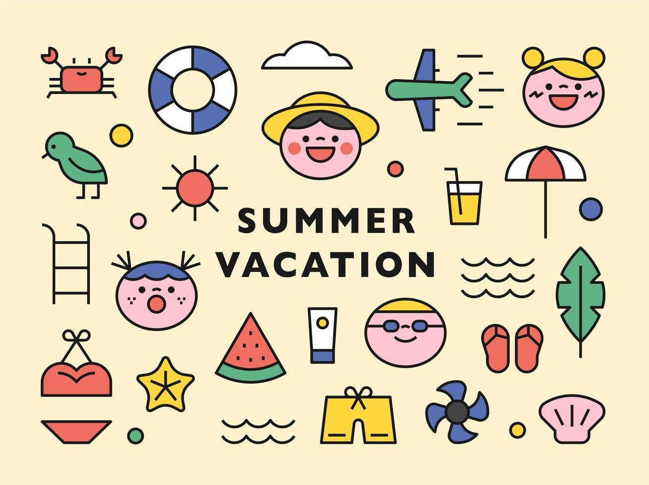 söt sommar strand ikoner samling. vektor