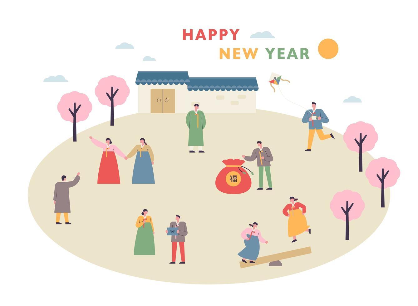 Neujahrsgrußkarte. vektor