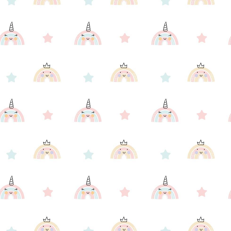 Kunst skandinavischen Regenbogen Einhorn Farbpinsel Strich nahtloses Muster. Babyentwurf für Geburtstagseinladung oder Babyparty, Plakat, Kleidung, Kinderzimmerwandkunst und Postkarte vektor