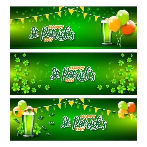 st. patrick's day banner med ballonsamling vektor