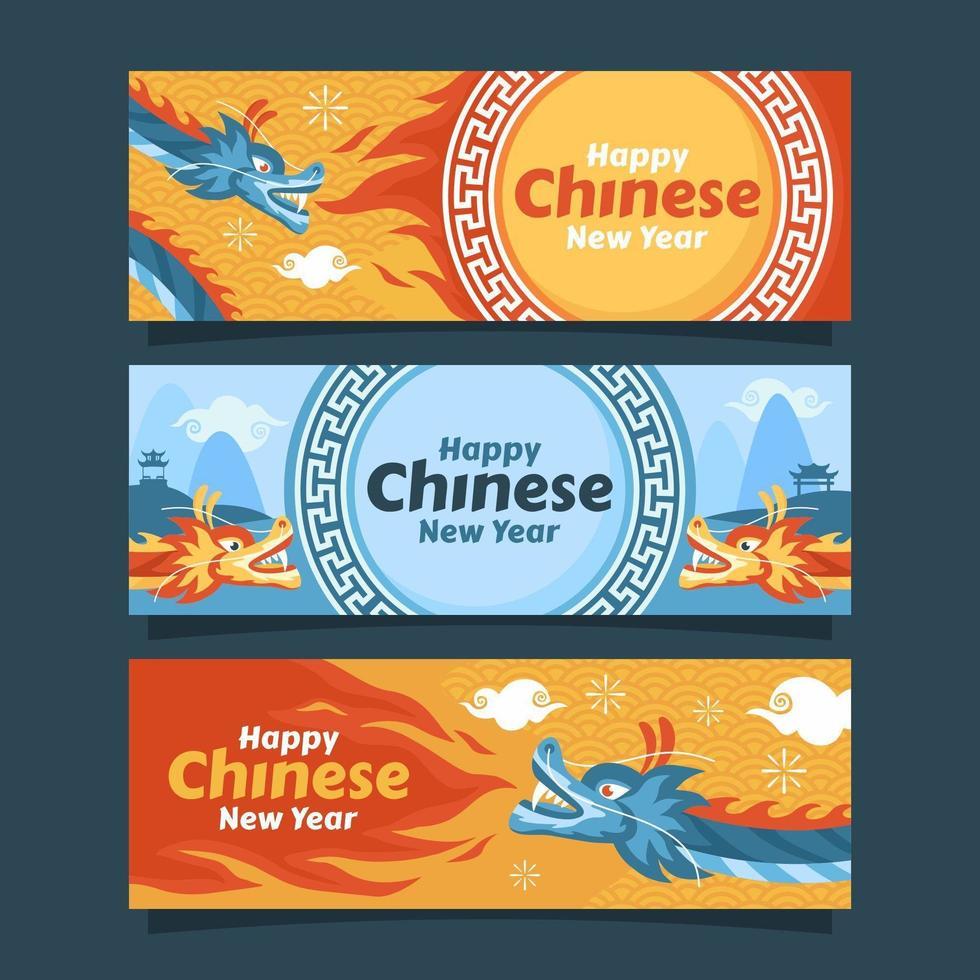 kinesiskt nyårsfirande med drakekaraktär vektor