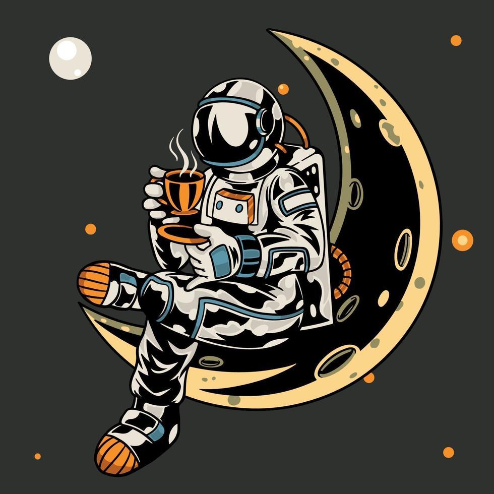 astronaut sitter på månen medan du håller en kopp kaffe t-shirt och kläder trendig design med enkel typografi, bra för t-shirt grafik, affisch, tryck och andra användningsområden. vektor illustration