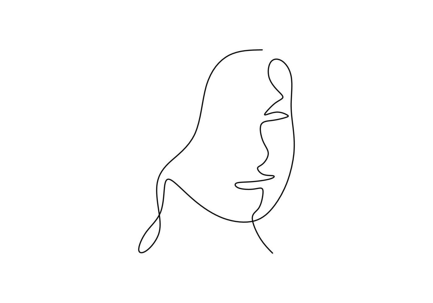 kontinuierliche Strichzeichnung Gesicht abstrakt. Minimalismusvektor lokalisiert auf weißem Hintergrund. vektor