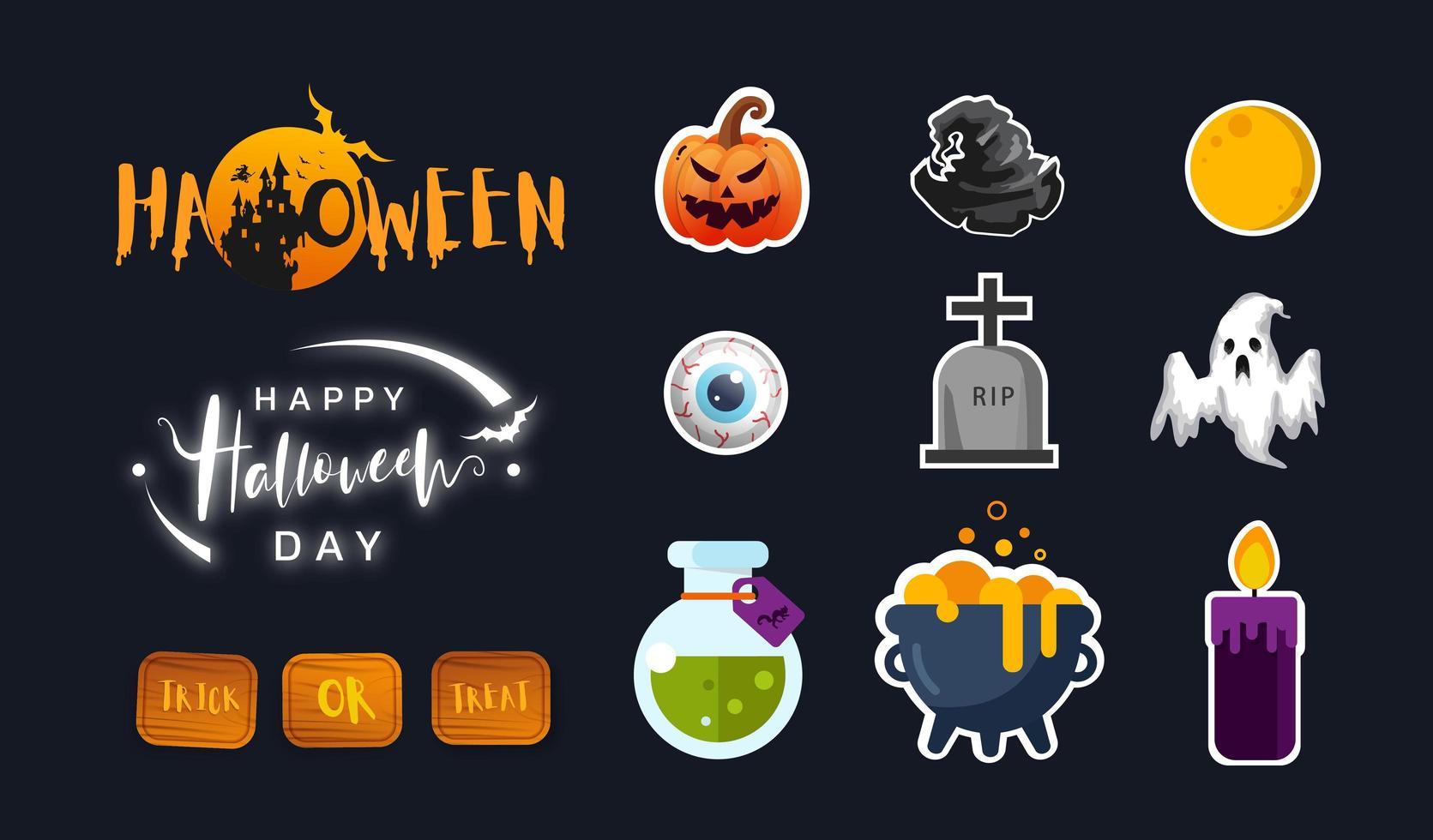 Sammlung von Halloween-Ikone im flachen Design. niedliche Ikone Design. Vektorillustration. vektor