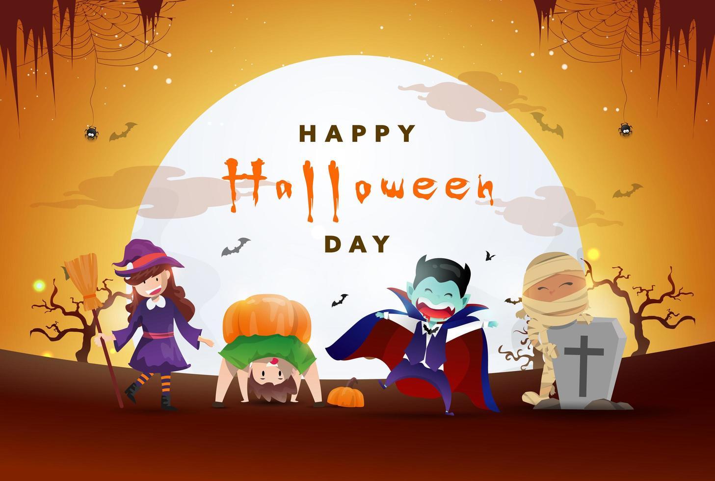 glücklicher Halloween-Tageshintergrund mit einer Partei der niedlichen Monster vektor