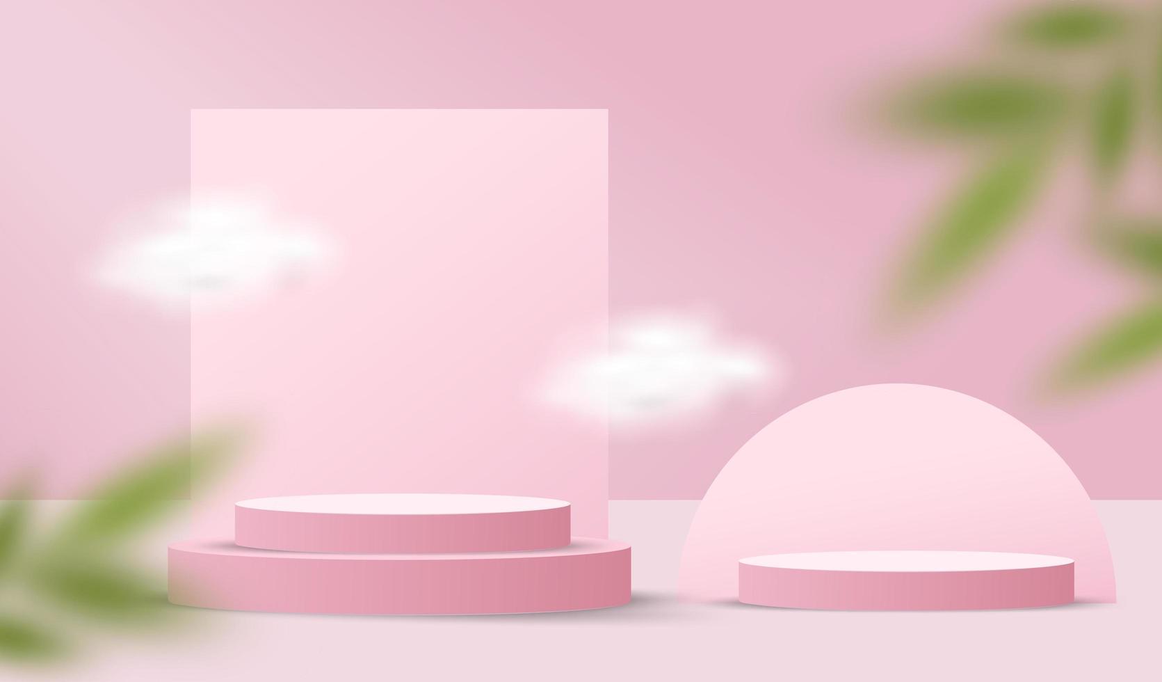 Hintergrund des abstrakten Valentinsgrußes mit Zylinderpodest und Blättern vektor