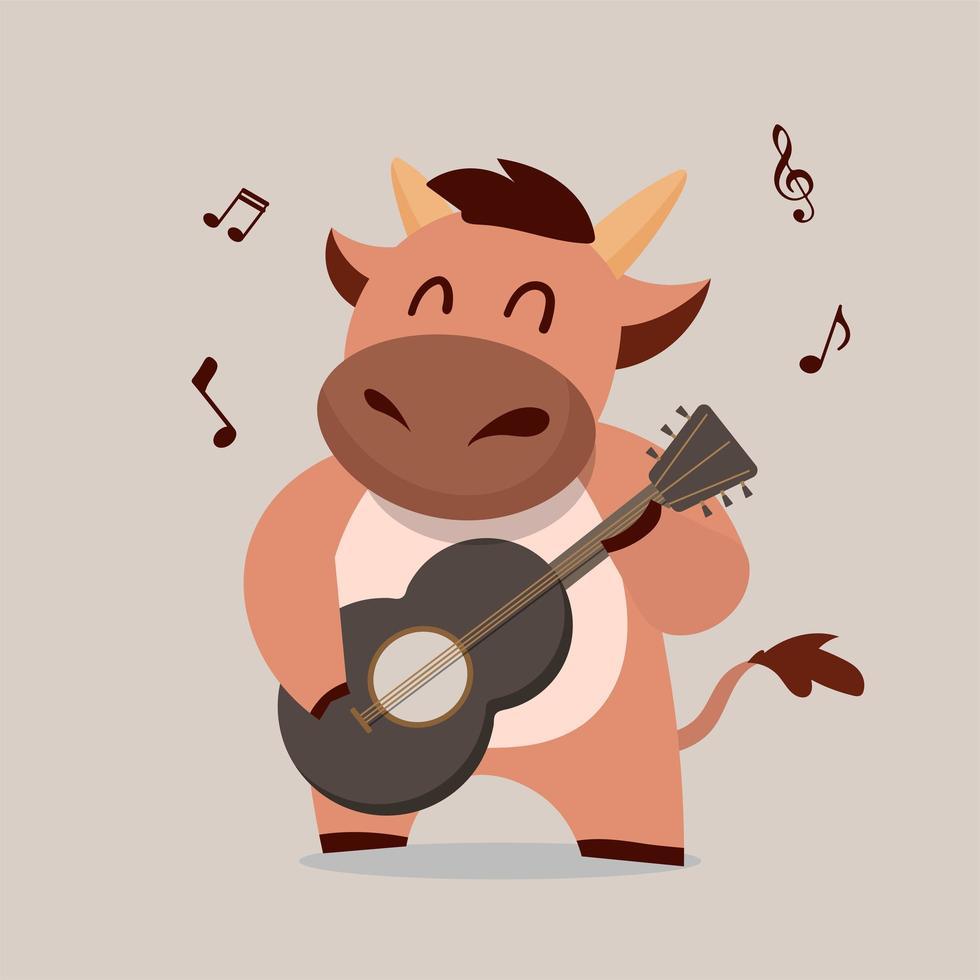 Kuh spielt Gitarre vektor