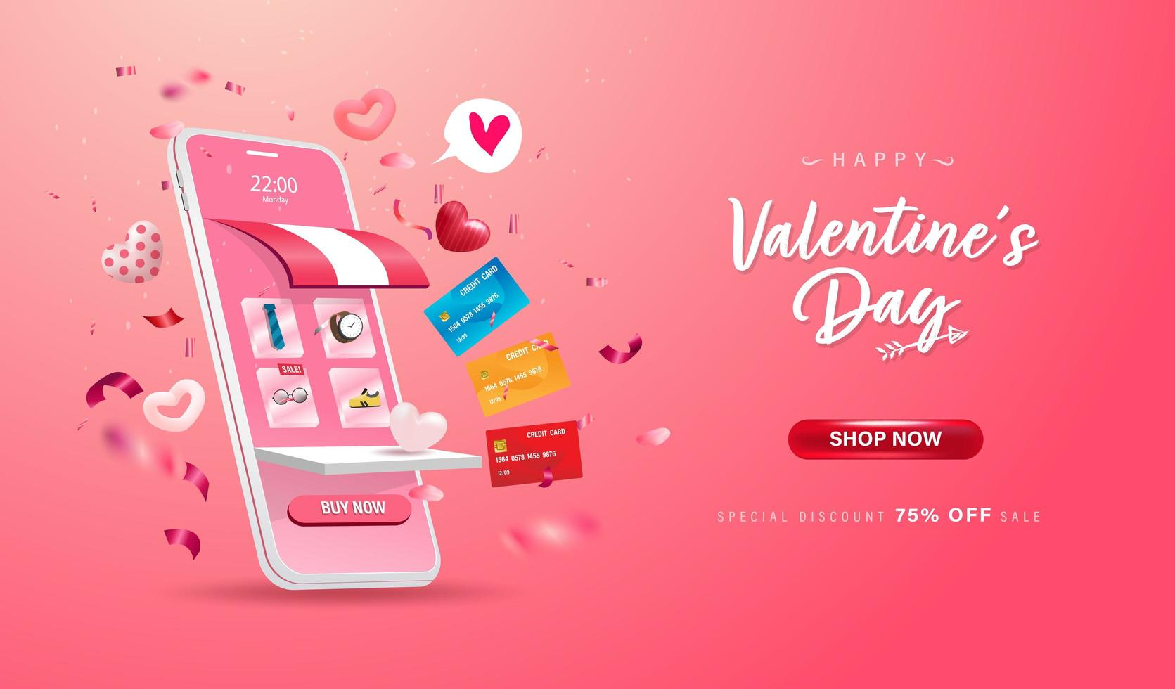 fröhlichen Valentinstag. Online-Shopping-Shop auf Website und Handy vektor