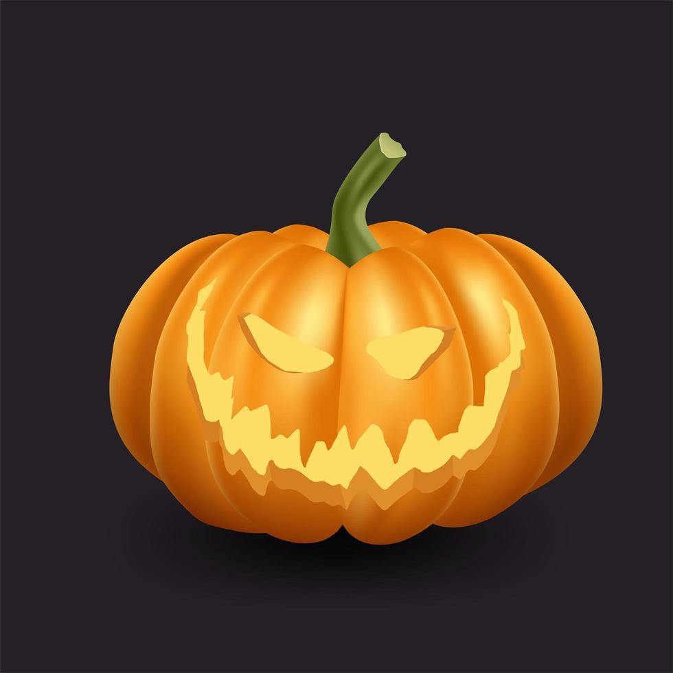 realistische orange Kürbisikone für Halloween vektor