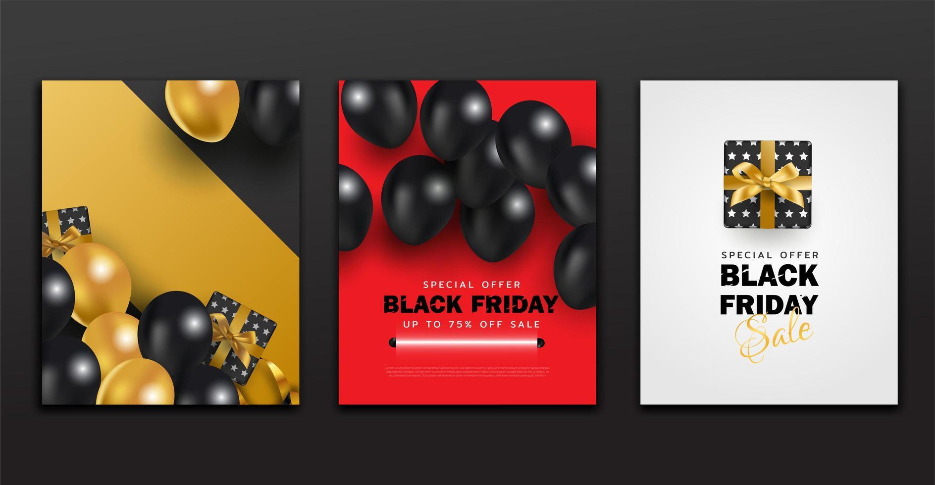 Schwarzer Freitag Poster und Banner Sammlung Design mit modernem Hintergrund. vektor