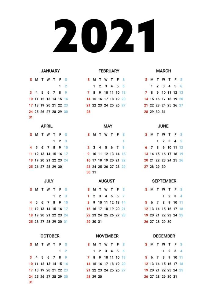 Kalender 2021 isoliert auf weißem Hintergrund. Die Woche beginnt am Sonntag. Vektorillustration. vektor