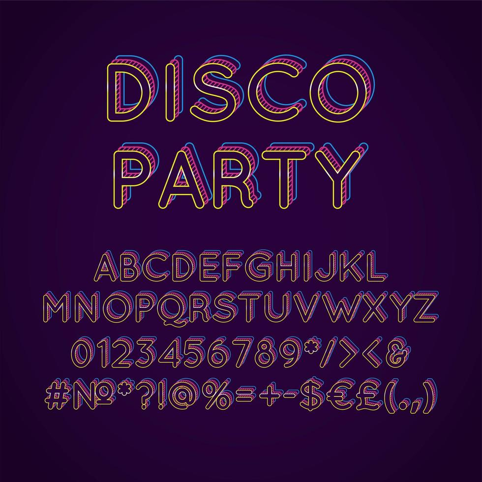 Disco Party Vintage 3D Vektor Alphabet Set