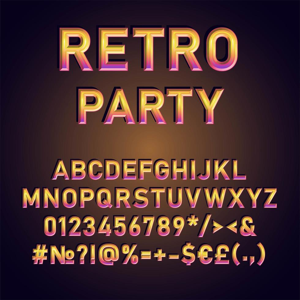 Retro Party Vintage 3d Vektor Alphabet Set