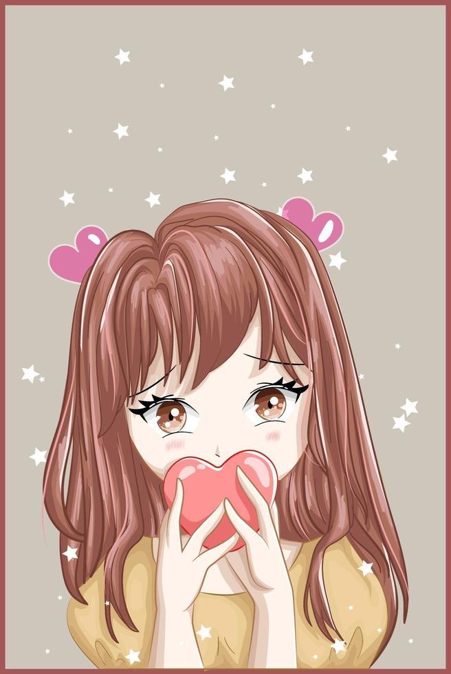 braunhaariges Mädchen im Anime-Stil mit Herz- und Sternhintergrund vektor