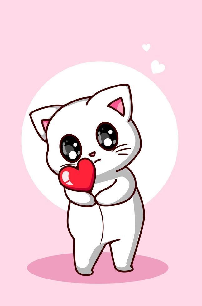 eine niedliche weiße Katze, die eine kleine Herzkarikaturillustration umarmt vektor
