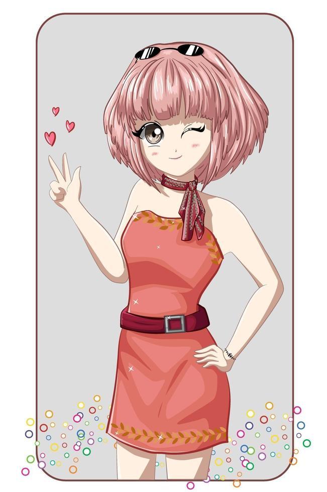 schönes Anime-Mädchen, das rosa Minikleid mit rosa kurzen Haaren trägt vektor