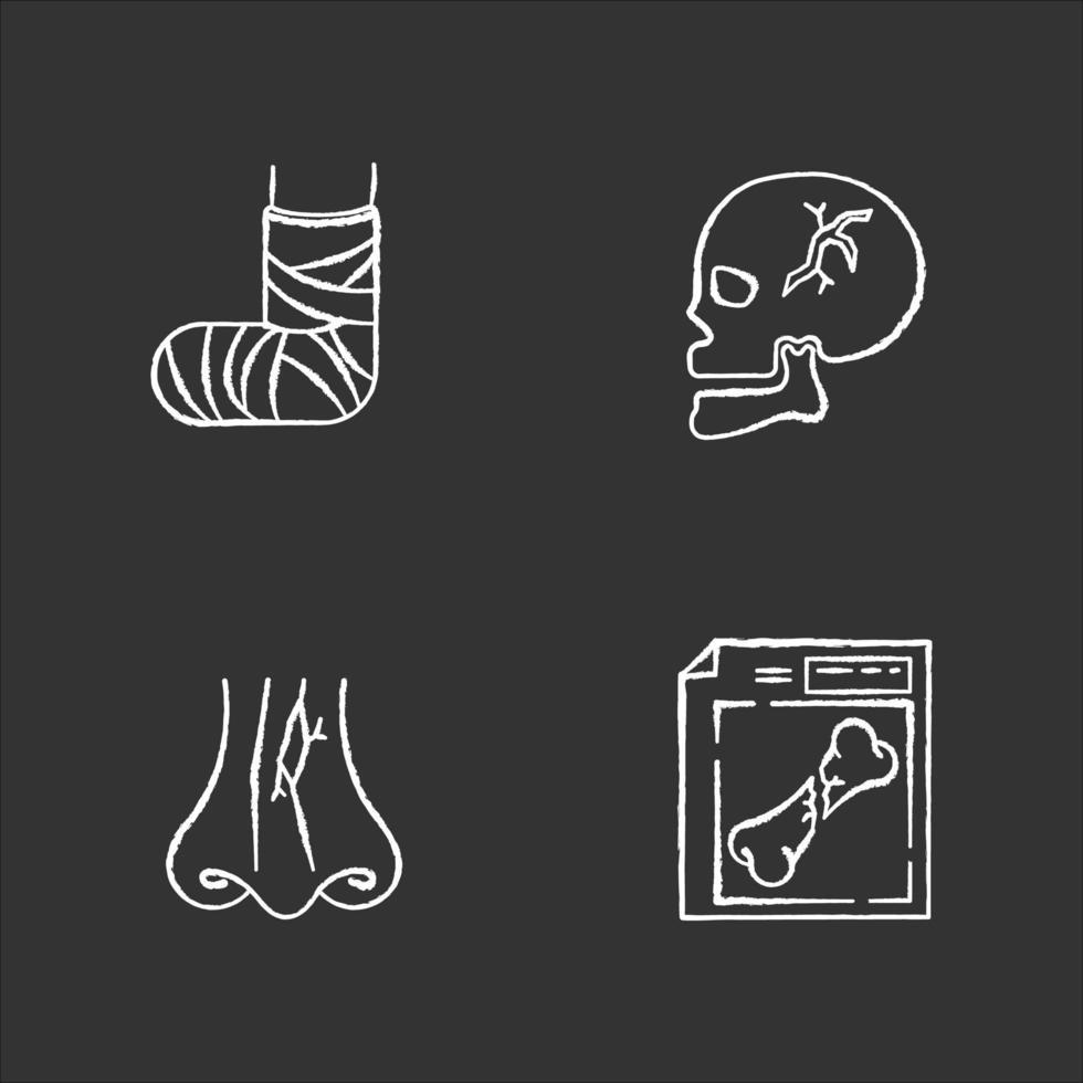 Gliedmaßen- und Körperverletzungen kreiden weiße Symbole auf schwarzem Hintergrund. gebrochener Fuß. Schädelknochen, Nasenbruch. Schädel verletzt. Nasenfraktur. Röntgen-Scan. Gesundheitswesen. isolierte Vektortafelillustrationen vektor