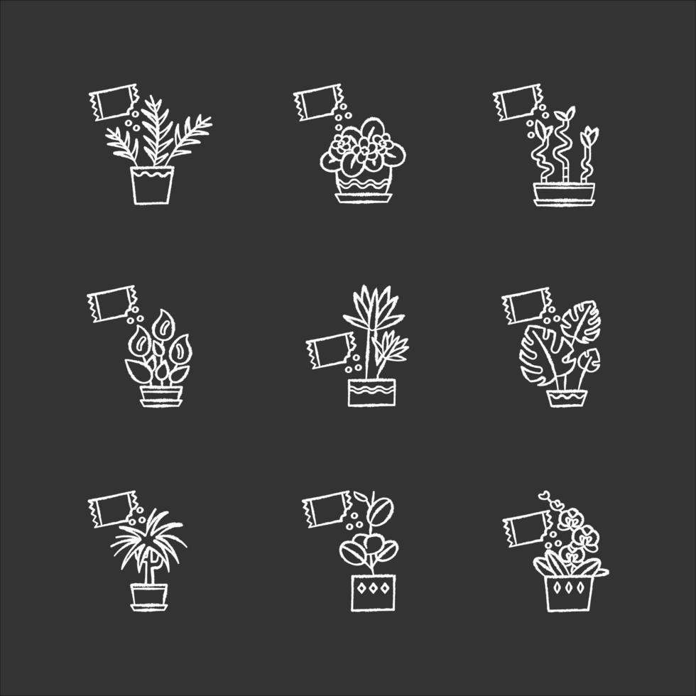 weiße Ikonen der Zimmerpflanze, die Kreide weiß, setzen auf schwarzen Hintergrund. Fütterung domestizierter Pflanzen. dekorative Pflanzen wachsen. Indoor-Gartenarbeit. Wachstumsergänzungen. isolierte Vektortafelillustrationen vektor
