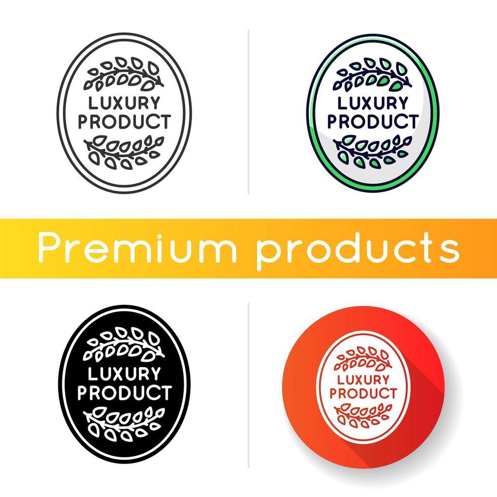 Luxusproduktikone. lineare Schwarz- und RGB-Farbstile. Hochwertige Waren, Premium Status Assurance, Markenwert. elegantes Emblem mit Lorbeerzweigen isolierte Vektorillustrationen vektor