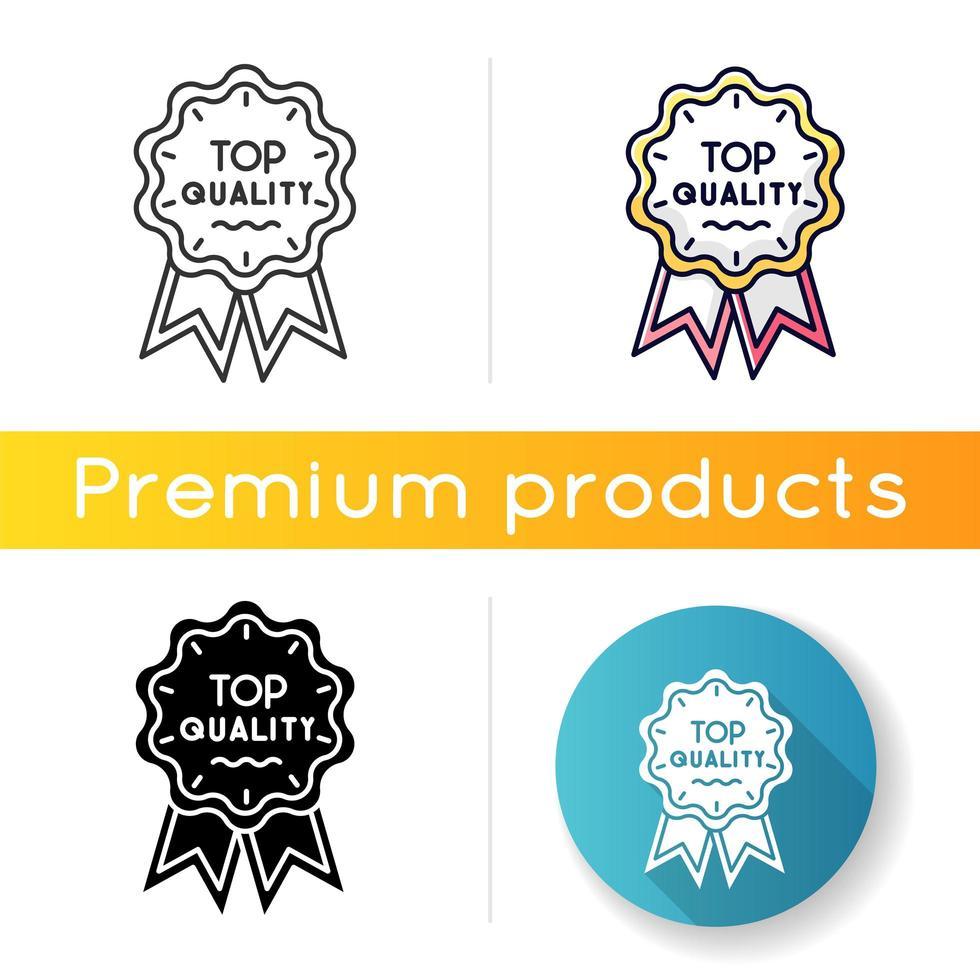 Symbol von höchster Qualität. lineare Schwarz- und RGB-Farbstile. Markenwert, Konsum. Premium-Waren- und Servicegarantie. Luxusmarke, prestigeträchtige Statusabzeichen isolierte Vektorillustrationen vektor