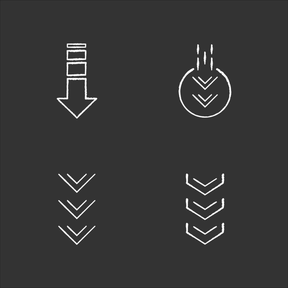nach unten Pfeile Kreide weiße Symbole auf schwarzem Hintergrund gesetzt. doppelte Pfeilspitze im Kreis. Scrolldown-Taste. Pfeile Navigationsschaltflächen der Benutzeroberfläche. Website-Seitencursor. isolierte Vektortafelillustrationen vektor