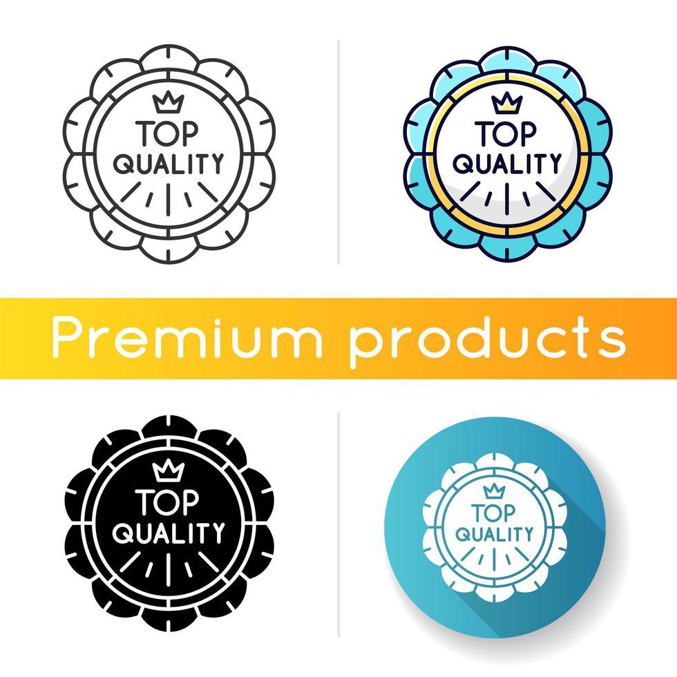 Symbol von höchster Qualität. lineare Schwarz- und RGB-Farbstile. Premium-Waren, Luxusprodukte Emblem. Hochwertige Qualität, Markenwert. prestigeträchtiges Abzeichen mit Krone isolierte Vektorillustrationen vektor