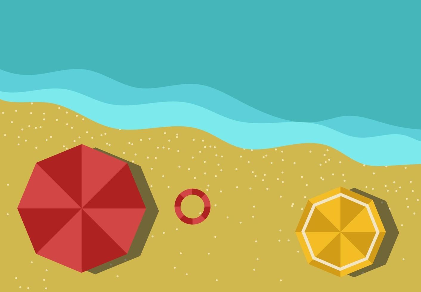 Draufsicht der Strand-Sommerferien-Vektorillustration vektor