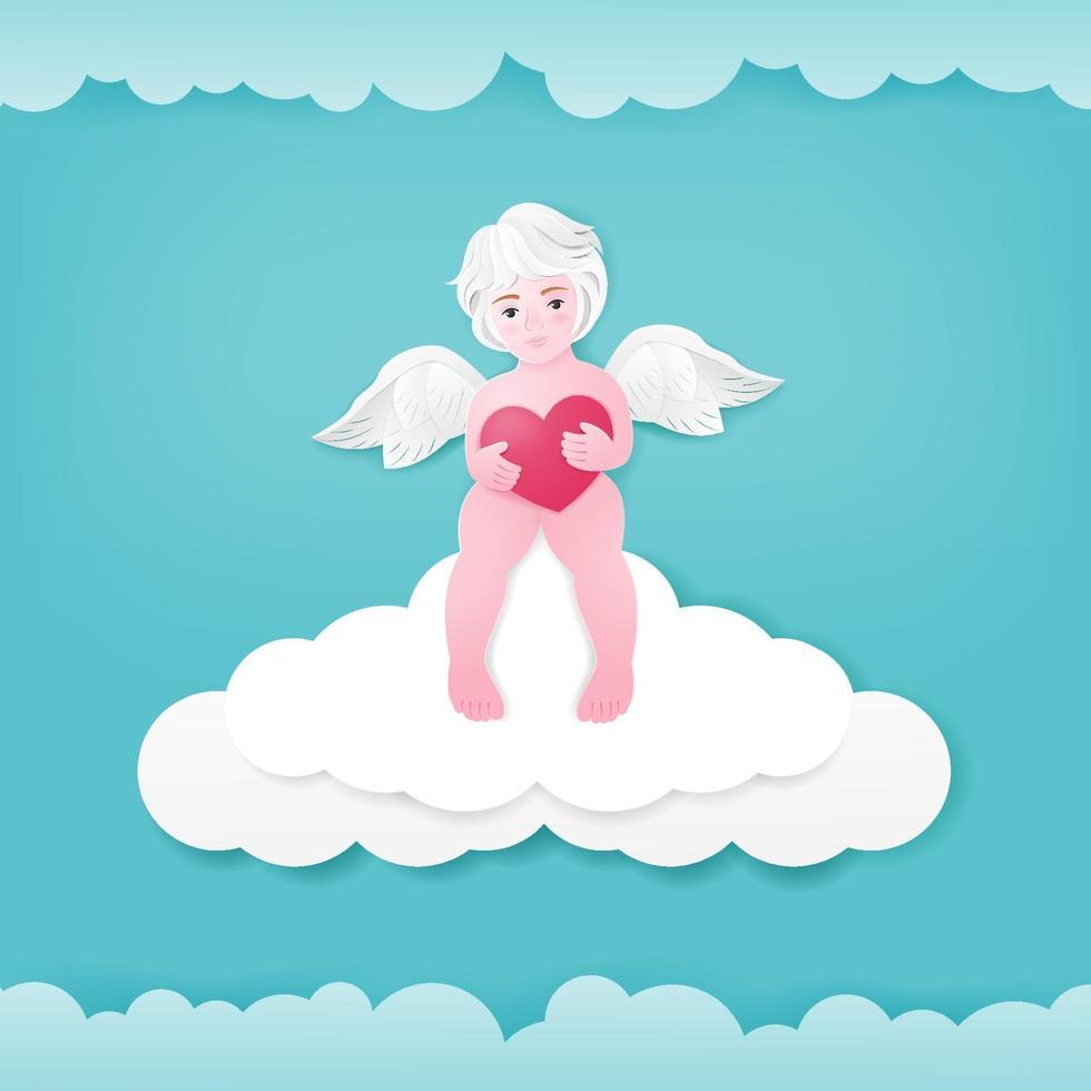 niedliche Valentinstaggrußkarte mit Amor, der auf Wolken sitzt. vektor