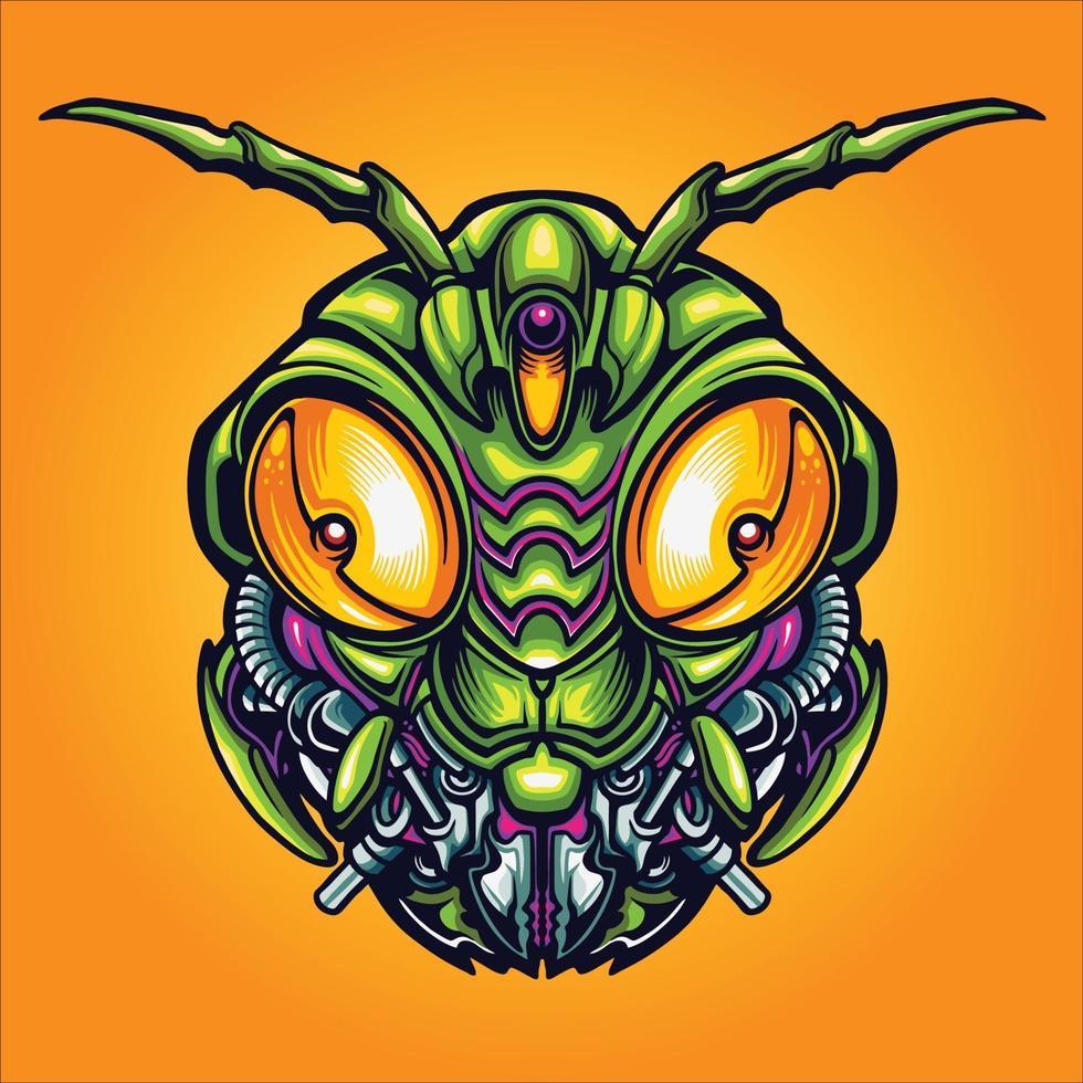 robot gräshoppa huvud cyber vektorillustration vektor