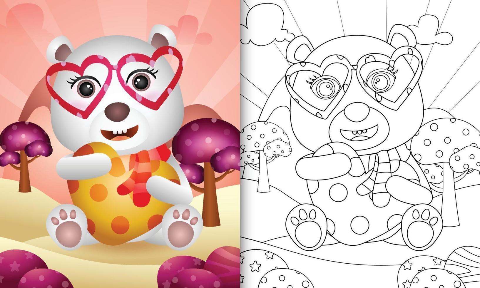 Malbuch für Kinder mit einem niedlichen Eisbären, der Herz zum Valentinstag umarmt vektor