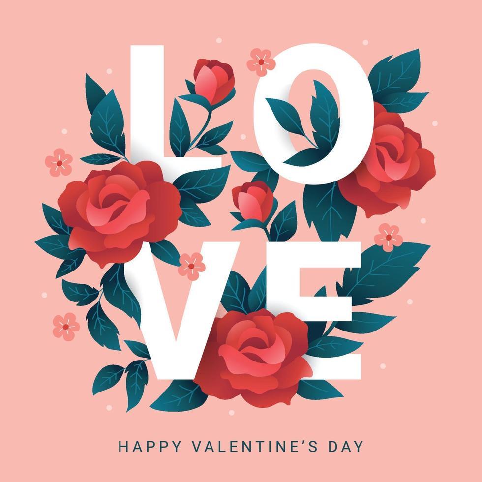 kärlek med röda rosor vektor