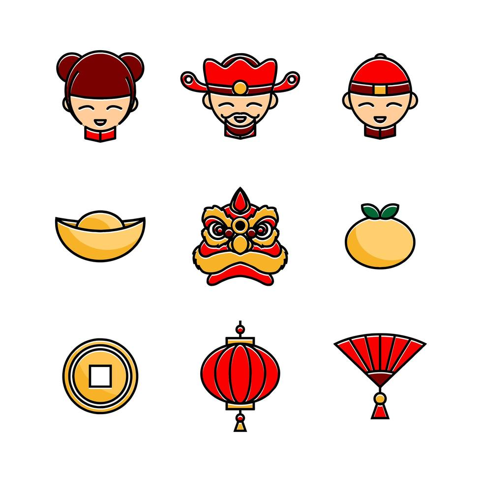 gong xi fa cai ikonuppsättning vektor