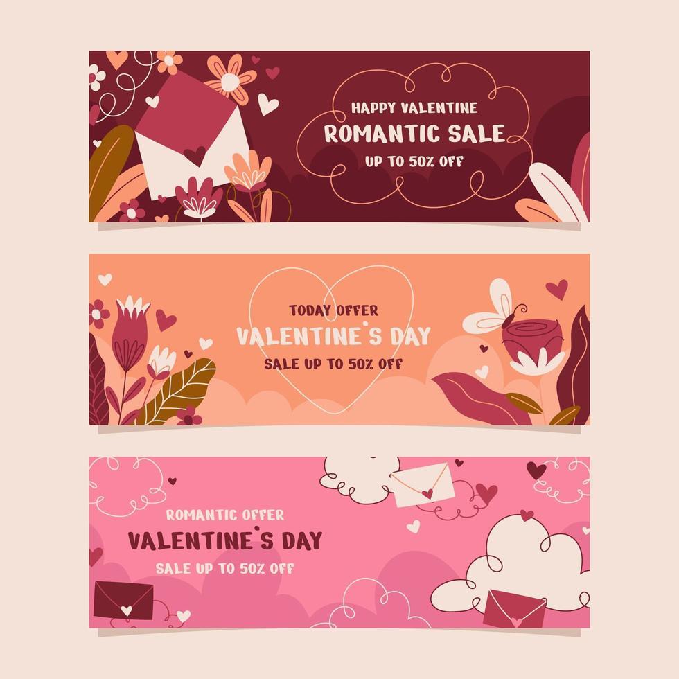 handgezeichnete Valentinstag Banner Set vektor