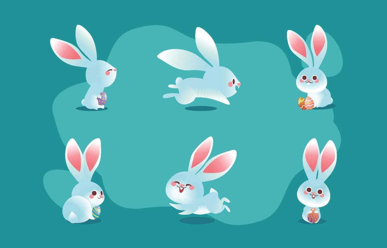 söt påsk vit kanin karaktär koncept vektor