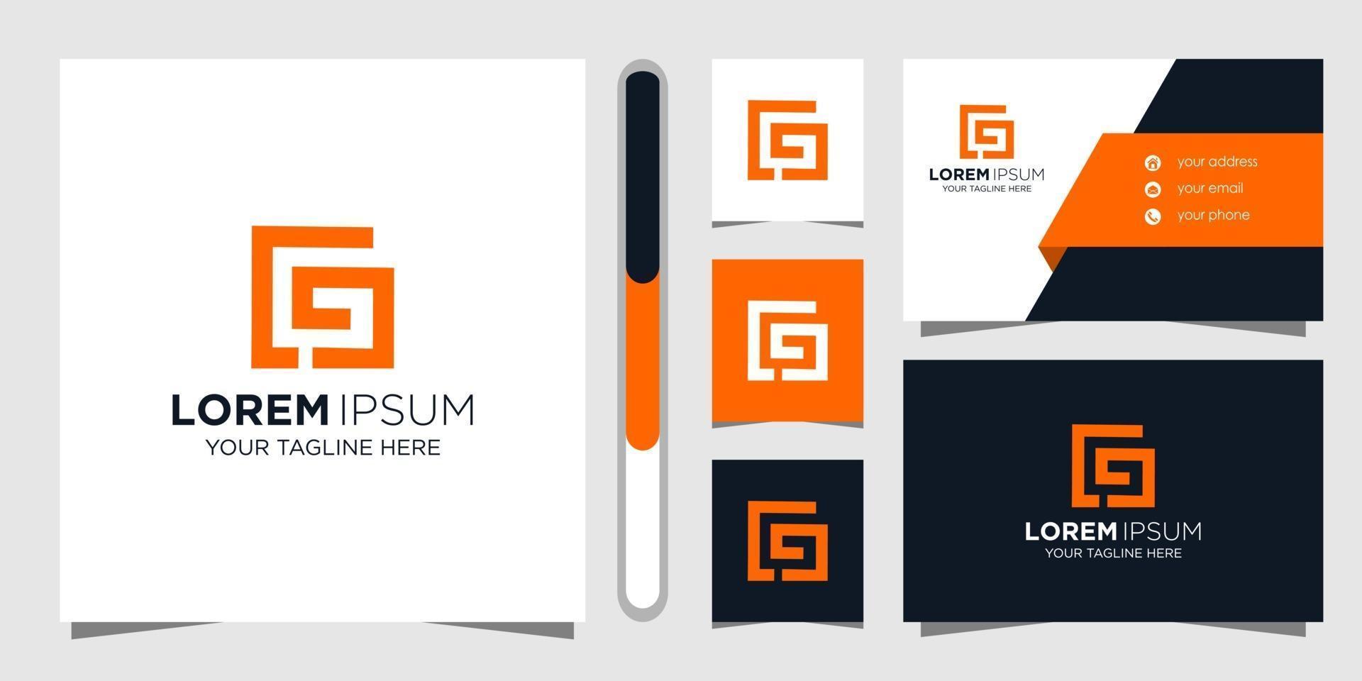 Buchstabe CG Logo Design und Visitenkarte vektor