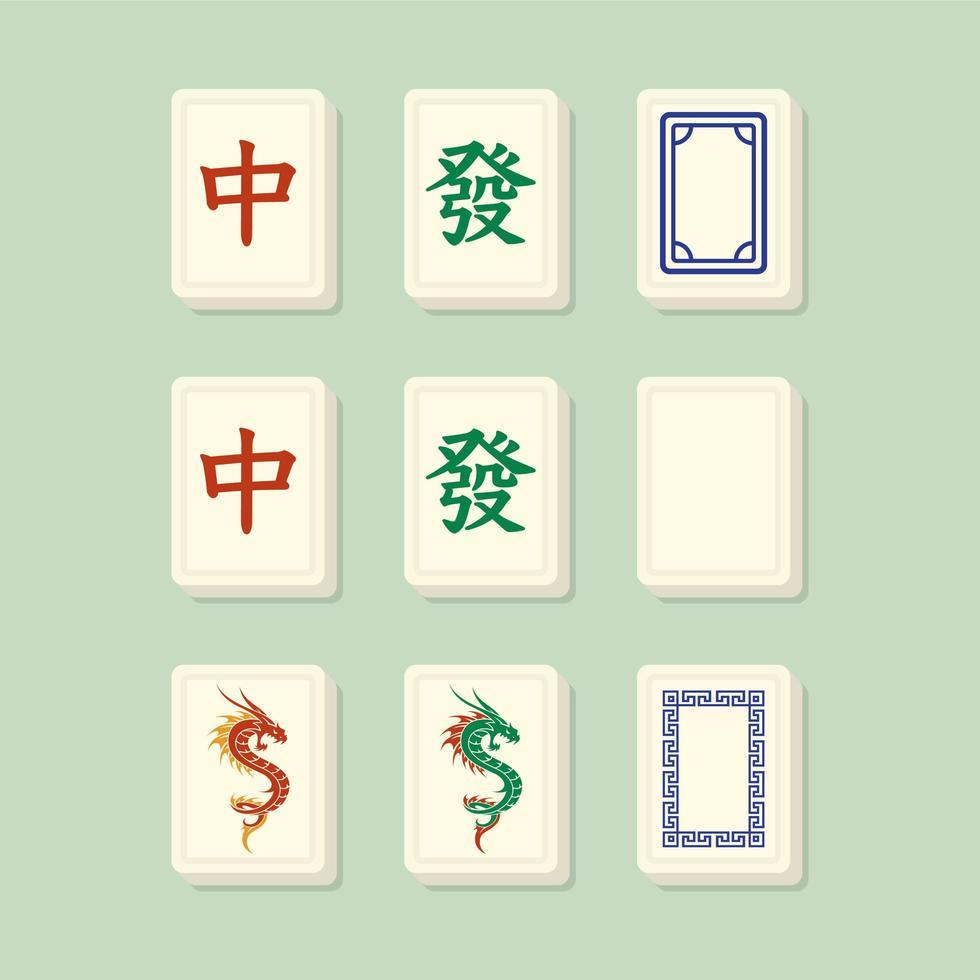 mahjong hedrar dragkakel vektor