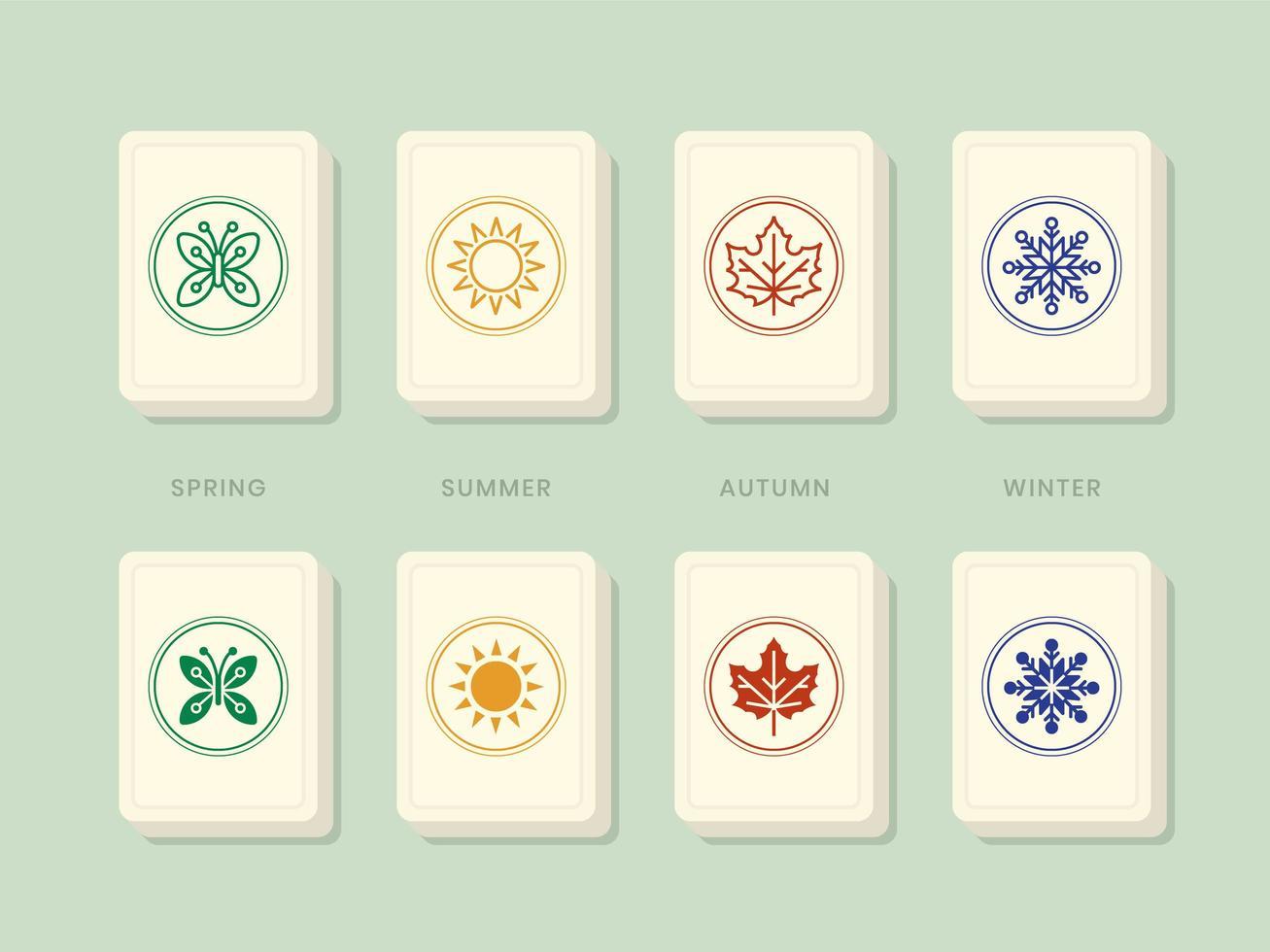 mahjong bonus säsonger brickor vektor