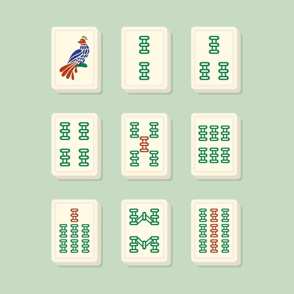 Mahjong passt zu Bambusfliesen vektor