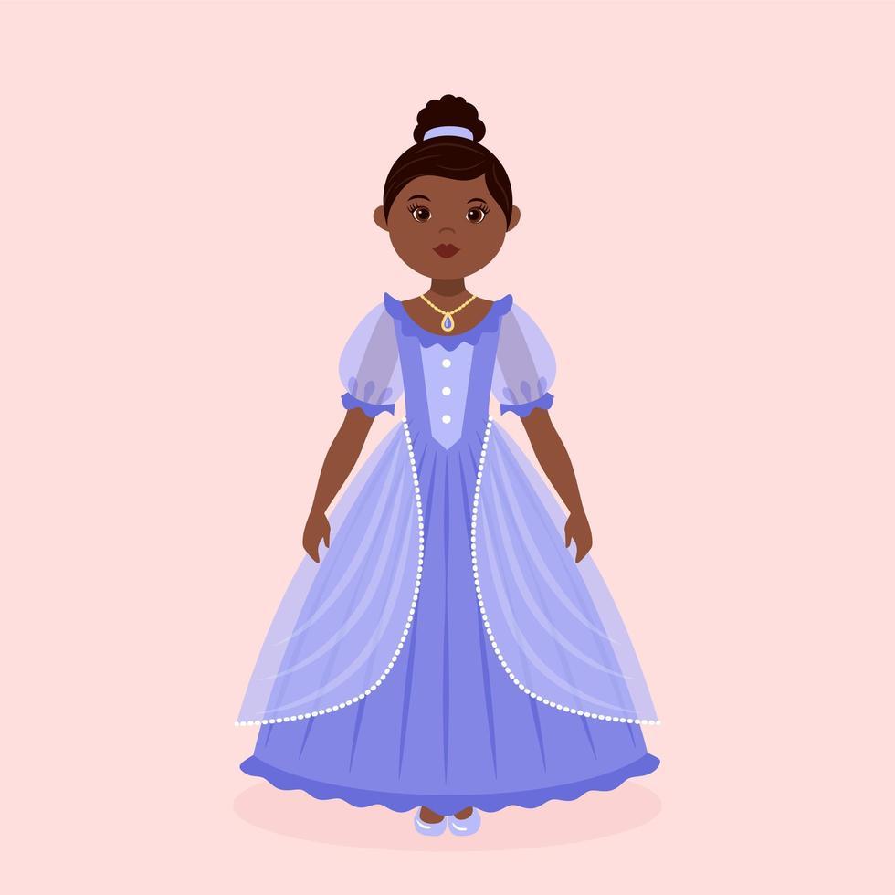 liten svart prinsessa som bär blå klänning vektor