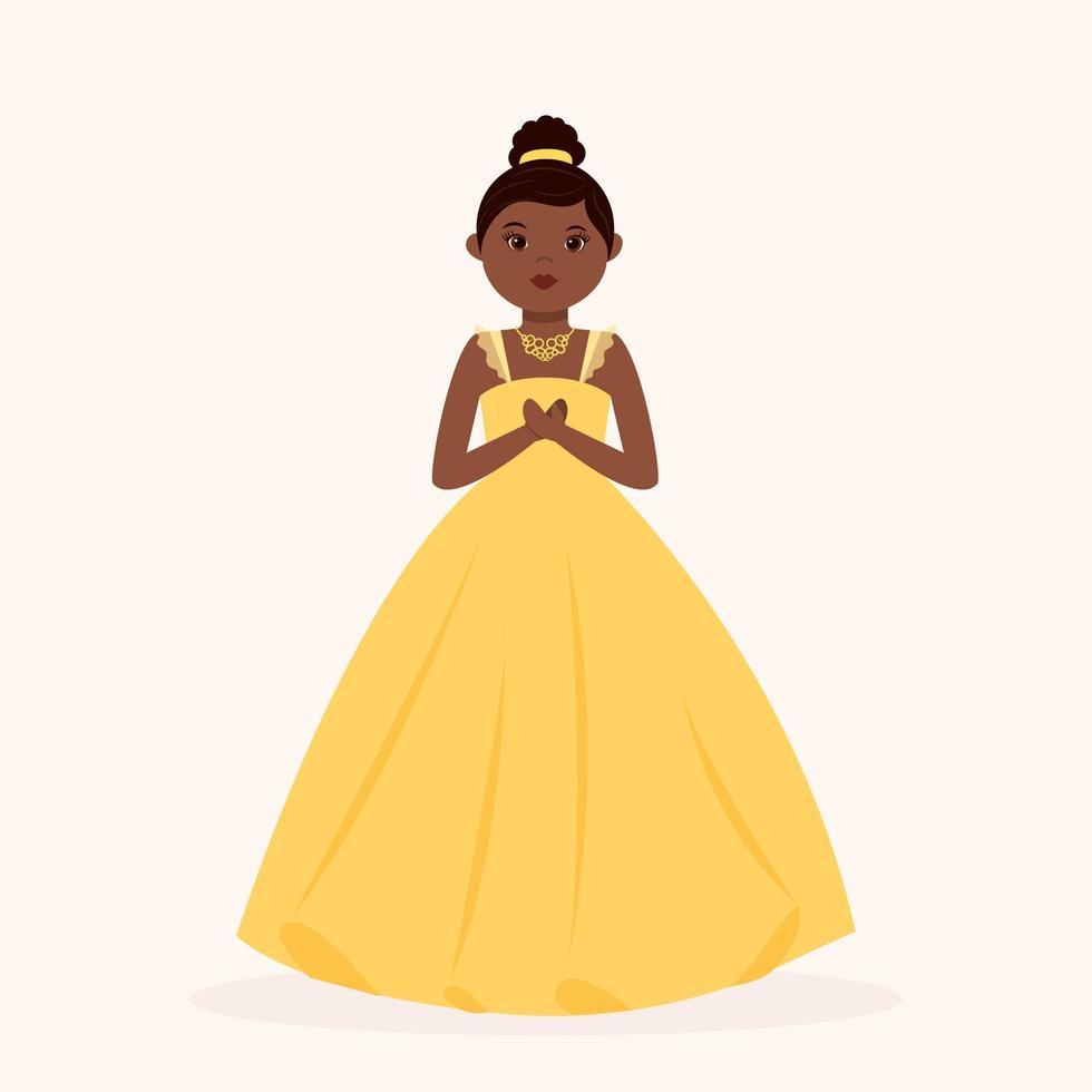 schwarze Prinzessin, die gelbes Ballkleid trägt vektor