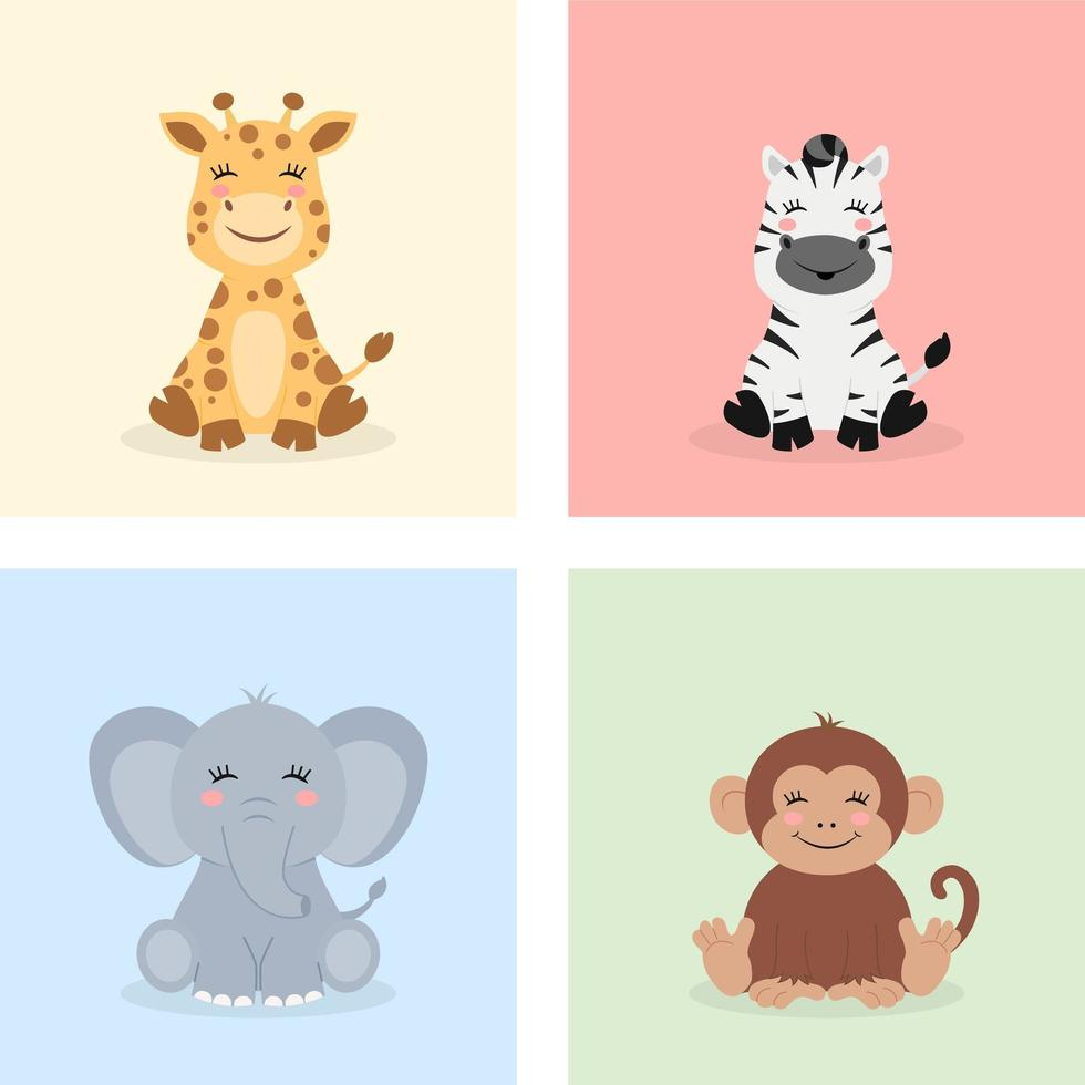 sitter baby djungel djur vektor