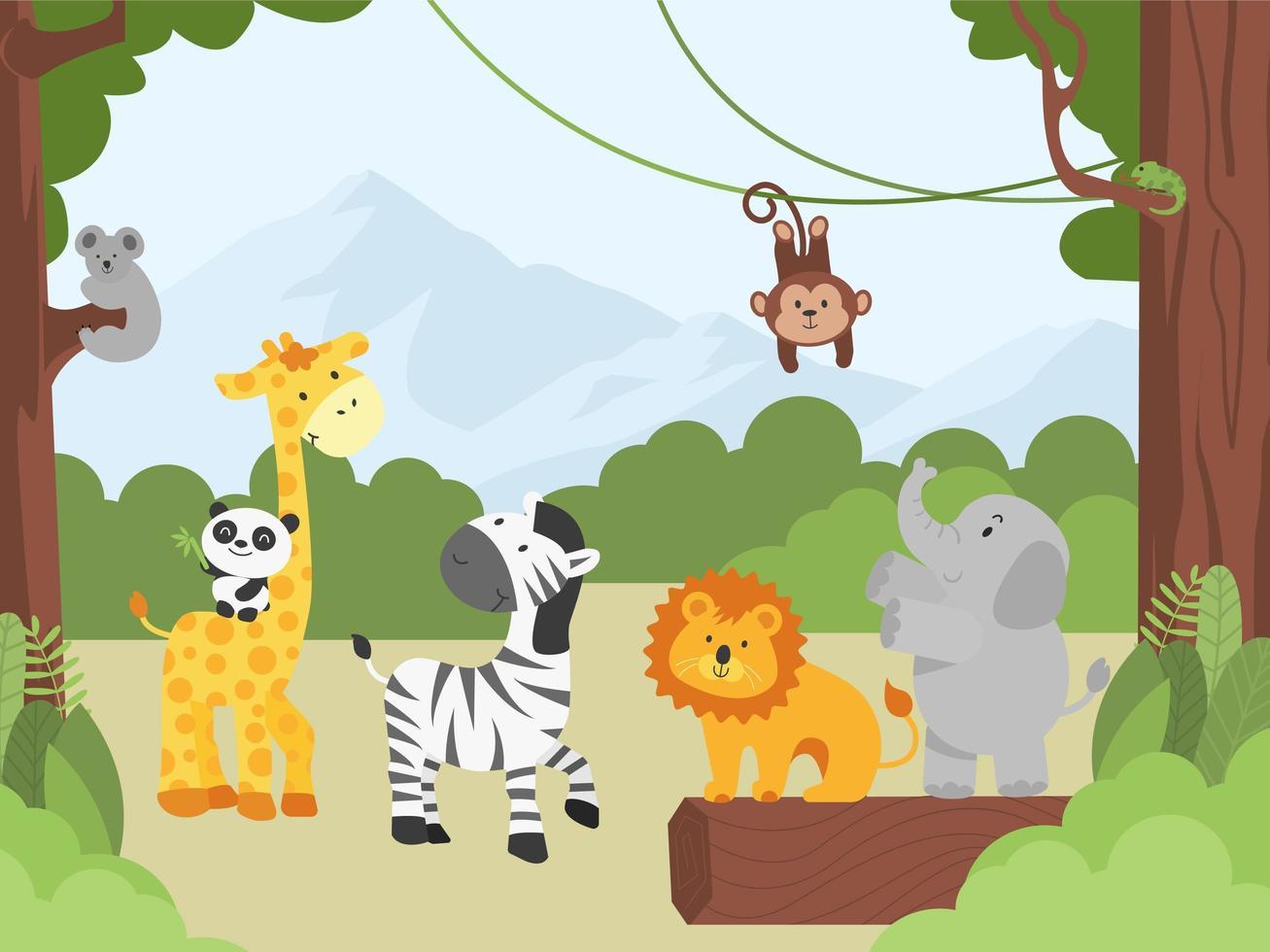 baby djur i djungeln vektor
