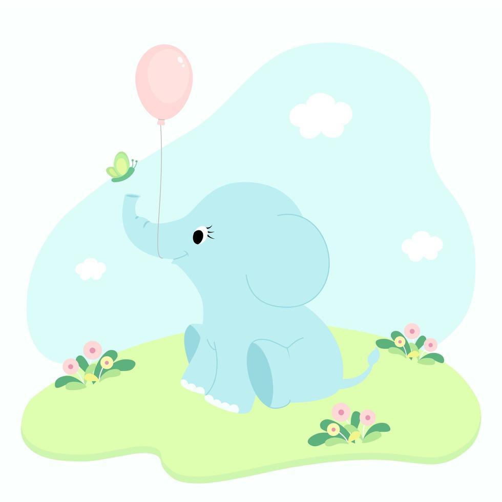 tecknad baby elefant med ballong vektor