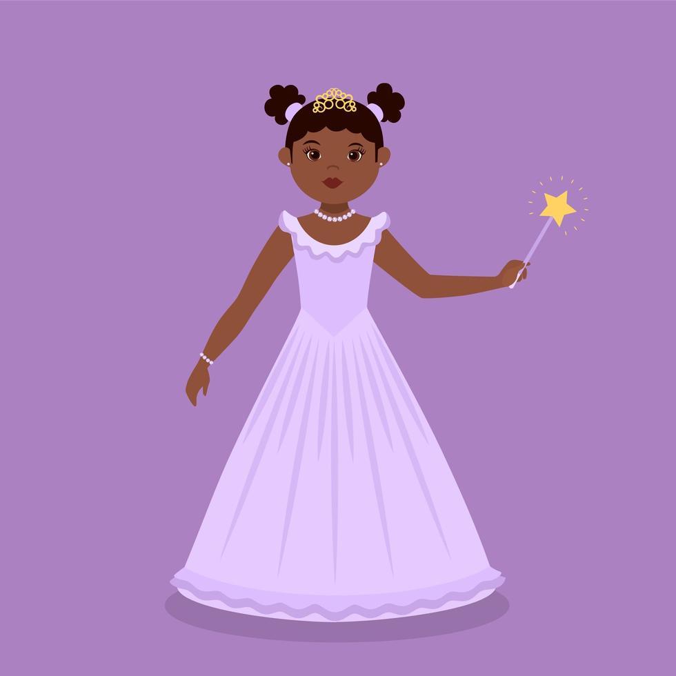 svart prinsessa som bär lila klänning vektor
