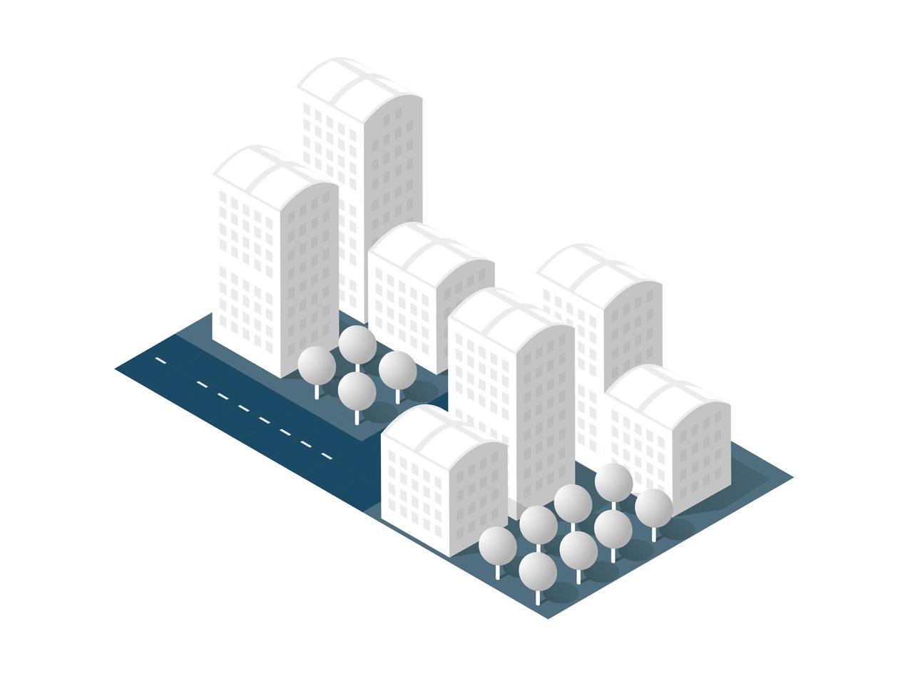 Stadt auf weißem Design vektor